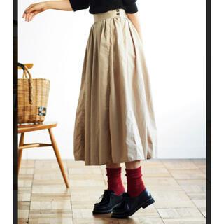 フェリシモ(FELISSIMO)のサニークラウズ  渾身のベージュ色をしたタックスカート(ロングスカート)