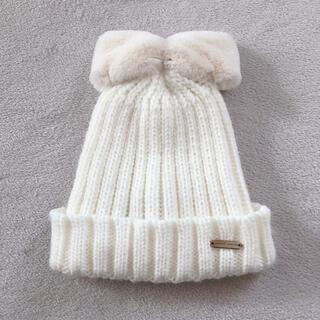 petit main - プティマインpetitmainリボンニット帽ホワイト白52ファー