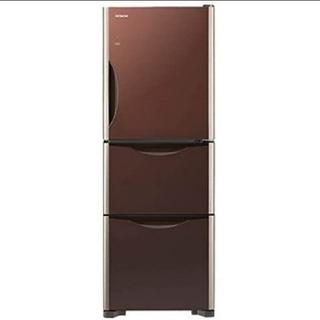 ヒタチ(日立)の冷蔵庫 日立 真空チルド ガラストップデザイン 人気のブラウン 自炊向きサイズ(冷蔵庫)