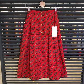グッチ(Gucci)の新品同様 グッチ 19SS チェーンプリント ロングスカート 36 XSサイズ(ロングスカート)