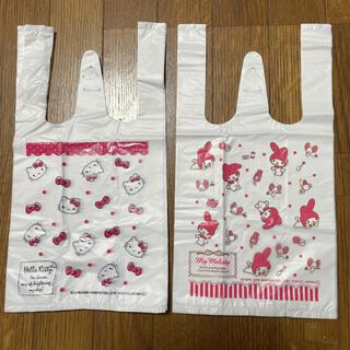 サンリオ(サンリオ)の未使用☆ハローキティ&マイメロディ 小さいポリ袋 手提げ付きビニール袋 28枚(日用品/生活雑貨)