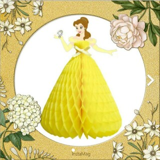 ビジョトヤジュウ(美女と野獣)の美女と野獣 ベル 立体ドレス ハニカムカード ディズニー ウエディングドレス(キャラクターグッズ)