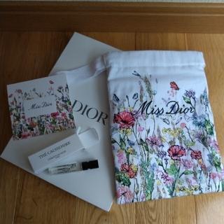 Dior - トート¥1900可ミス ディオール 花柄刺繍コットンポーチ 限定巾着 ノベルティ
