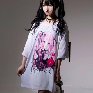 ミルクボーイ(MILKBOY)のレフレム💗negiコラボ💗桃色髪少女袖レースアップTシャツ💗白💗新品(Tシャツ(半袖/袖なし))