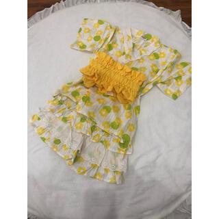 mou jon jon - ムージョンジョン 100㎝ 浴衣 セパレート浴衣 甚平 女の子 黄色 お花柄