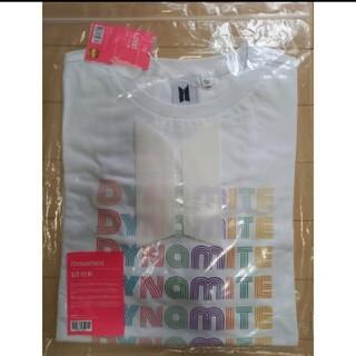 ボウダンショウネンダン(防弾少年団(BTS))のBTS DYNAMITE ロゴ Tシャツ 白 半袖 公式 新品、未開封 フリー(Tシャツ/カットソー(半袖/袖なし))