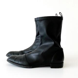 シールームリン(SeaRoomlynn)のECO LEATHER FIT フラットショートブーツ LL ブラック(ブーツ)