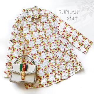 ローラアシュレイ(LAURA ASHLEY)の美品 シアーシャツ オーガンジー 花柄 薔薇 バラ チェック ホワイト 白(シャツ/ブラウス(長袖/七分))