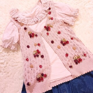 ピンクハウス(PINK HOUSE)の専用 PINK HOUSE 襟付き半袖カットソー&いちごニットベストのセット(Tシャツ(半袖/袖なし))