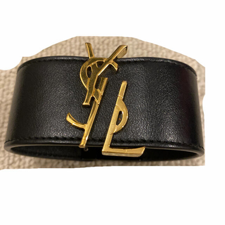 サンローラン(Saint Laurent)のSAINT LAURENT レザーバングル 正規品 美品(ブレスレット/バングル)