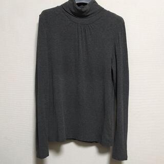 シーディーエスベーシック(C.D.S BASIC)のC.D.S BASIC 胸元ギャザー ハイネック グレー トップス(Tシャツ(長袖/七分))