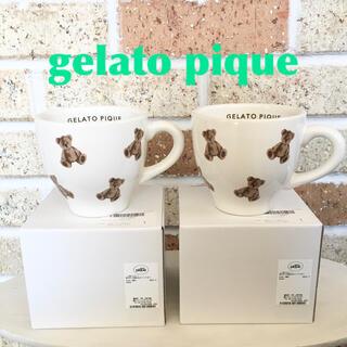 ジェラートピケ(gelato pique)の新品未使用 2個セット ジェラートピケ テディベア  くま ホワイト マグカップ(グラス/カップ)