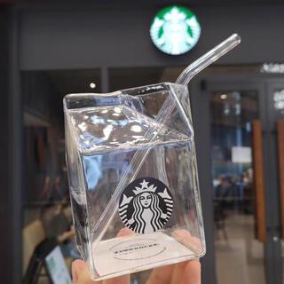 スターバックスコーヒー(Starbucks Coffee)の【スターバックス海外限定】日本未発売 牛乳パックガラスカップ&ストロー(グラス/カップ)