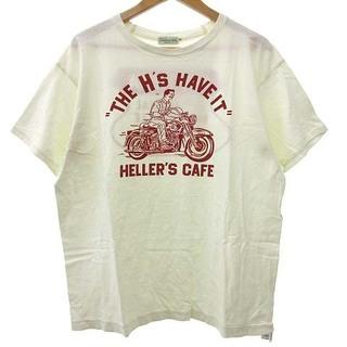 ウエアハウス(WAREHOUSE)のHELLER'S CAFE Tシャツ 半袖 バイク プリント 40 ホワイト(Tシャツ/カットソー(半袖/袖なし))
