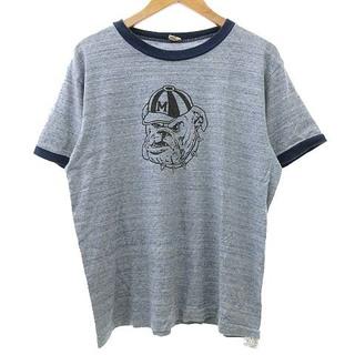 ウエアハウス(WAREHOUSE)のWAREHOUSE Tシャツ 半袖 リンガー ブルドッグ プリント 38 ブルー(Tシャツ/カットソー(半袖/袖なし))