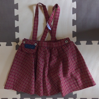 familiar - ファミリア 吊りスカート チェック 100