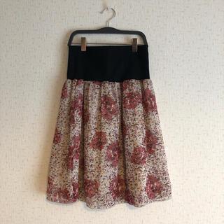 フェリシモ(FELISSIMO)のフェリシモ 花柄スカート バラ柄 重ね着 シフォンスカート(ひざ丈スカート)