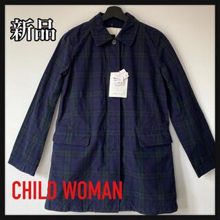 チャイルドウーマン(CHILD WOMAN)の《新品》CHILD WOMAN  チェックステンカラーコート(トレンチコート)