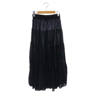 マディソンブルー(MADISONBLUE)のマディソンブルー コットンニットスカート ロング プリーツ 00 黒 ブラック(ロングスカート)