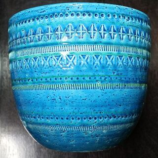 FLAVIA社ITALY製 これぞイタリアブルー 置き物 鉢カバー 陶器(プランター)