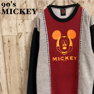 ミッキーマウス(ミッキーマウス)のミッキー MICKEY 90s 長袖カットソー スウェット ビックプリントロゴ(スウェット)
