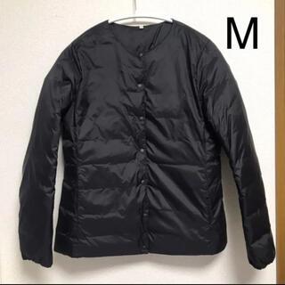 ムジルシリョウヒン(MUJI (無印良品))の無印 ノーカラー ブルゾン ポケッタブル ダウン ジャケット 黒(ダウンジャケット)