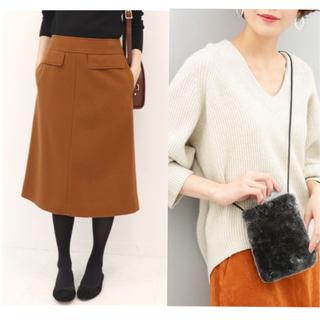 イエナスローブ(IENA SLOBE)のメルトンAラインスカート&フェイクムートンスマートフォンポシェット(ひざ丈スカート)