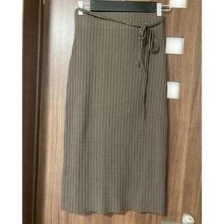ミラオーウェン(Mila Owen)のミラオーウェン レディース ニットスカート ブラウン カーキ(ひざ丈スカート)