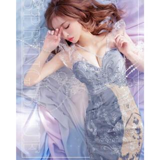 JEWELS - Jewels フラワー刺繍フェイクレースドレスM ブルー