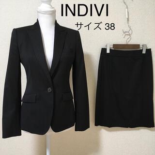 インディヴィ(INDIVI)の【超美品】INDIVI* スカートスーツ 通勤 黒ストライプ 38 OL 通勤(スーツ)