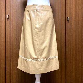 フェンディ(FENDI)のFENDI レザースカート(ひざ丈スカート)