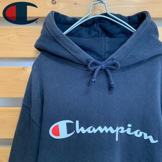 チャンピオン(Champion)のChampion パーカー プルオーバー ブラック ビッグシルエット 90s(パーカー)