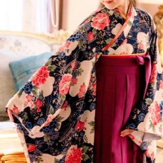 キャサリンコテージ(Catherine Cottage)のキャサリンコテージ 160 国産ちりめん 花柄 袴セット 卒業式 着物 和装(和服/着物)