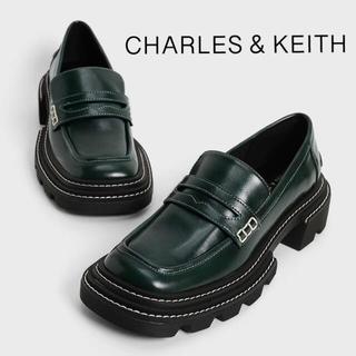 チャールズアンドキース(Charles and Keith)の【2021 FALL 新作】チャンキーペニーローファー(DarkGreen) (ローファー/革靴)