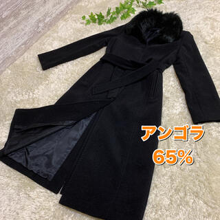 フラジール(FRAGILE)の美品 フラジール(三陽商会) アンゴラ65%混 ロングコート 36 ブラック(ロングコート)