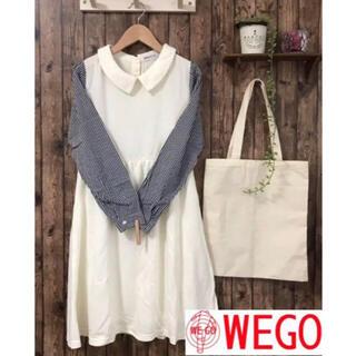 ウィゴー(WEGO)のWEGO BROWNY 袖ギンガムチェックフレアワンピース 長袖 size F(ひざ丈ワンピース)