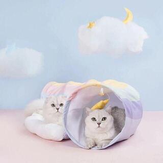 ゆめかわいい♡レインボートンネルペットベッド(猫)