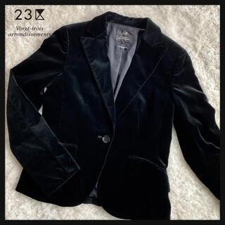 ニジュウサンク(23区)の23区 ベロアテーラードジャケット ブラック 日本製(テーラードジャケット)