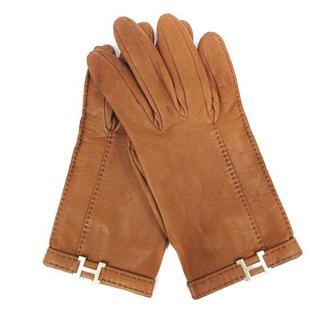 エルメス(Hermes)のエルメス HERMES 手袋 グローブ レザー Hロゴ 6.5 茶 ブラウン(手袋)