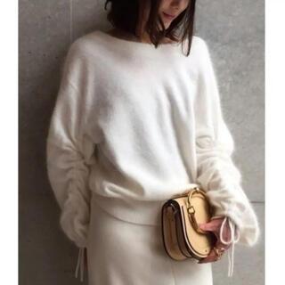 アクアガール(aquagirl)のアクアガール アンゴラ混デザイン袖シャーリングニット(ニット/セーター)