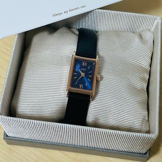 エテ(ete)のete ウォッチ レクタングルフェイス ダイヤモンド ブラックレザー 腕時計(腕時計)