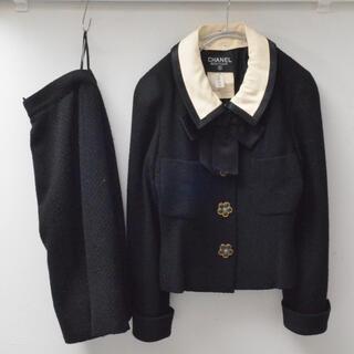 シャネル(CHANEL)の希少 シャネル ヴィンテージ フラワーボタン ツイード スーツ 付け襟 リボン(スーツ)