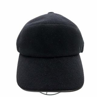 Hermes - エルメス キャップ 野球帽 帽子 Hロゴ ベロア カシミヤ 59 黒