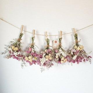 hana様専用バラと彩りナチュラル小花のホワイトピンク系ドライフラワーガーランド(ドライフラワー)