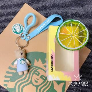 スターバックスコーヒー(Starbucks Coffee)の【スターバックス海外限定】日本未発売 キーホルダー ベアリスタ 青エプロン店員(キーホルダー)