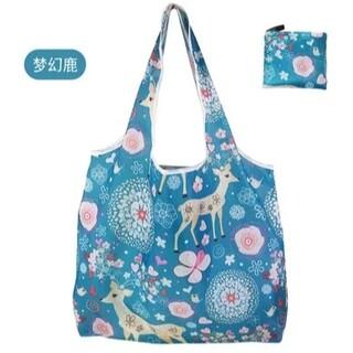 【お試し価格】大容量 エコバッグ コンパクト バンビ柄 青色(エコバッグ)