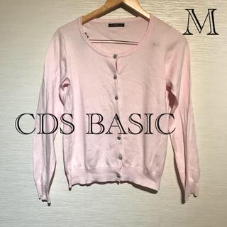 シーディーエスベーシック(C.D.S BASIC)の美品 C.D.S. BASIC ピンク コットン カーディガン M(カーディガン)