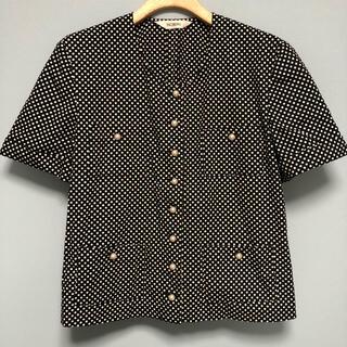 ピンクハウス(PINK HOUSE)のインゲボルグ  コットン 100%   黒 白 水玉 半袖シャツ パールボタン(Tシャツ(半袖/袖なし))