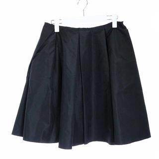 プラダ(PRADA)のプラダ PRADA フレアスカート ひざ丈 シルク タック 38 M 黒(ひざ丈スカート)