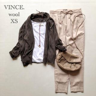 Vince - 473ヴィンス  コクーンシルエットショールカラーウールニットカーディガン茶XS